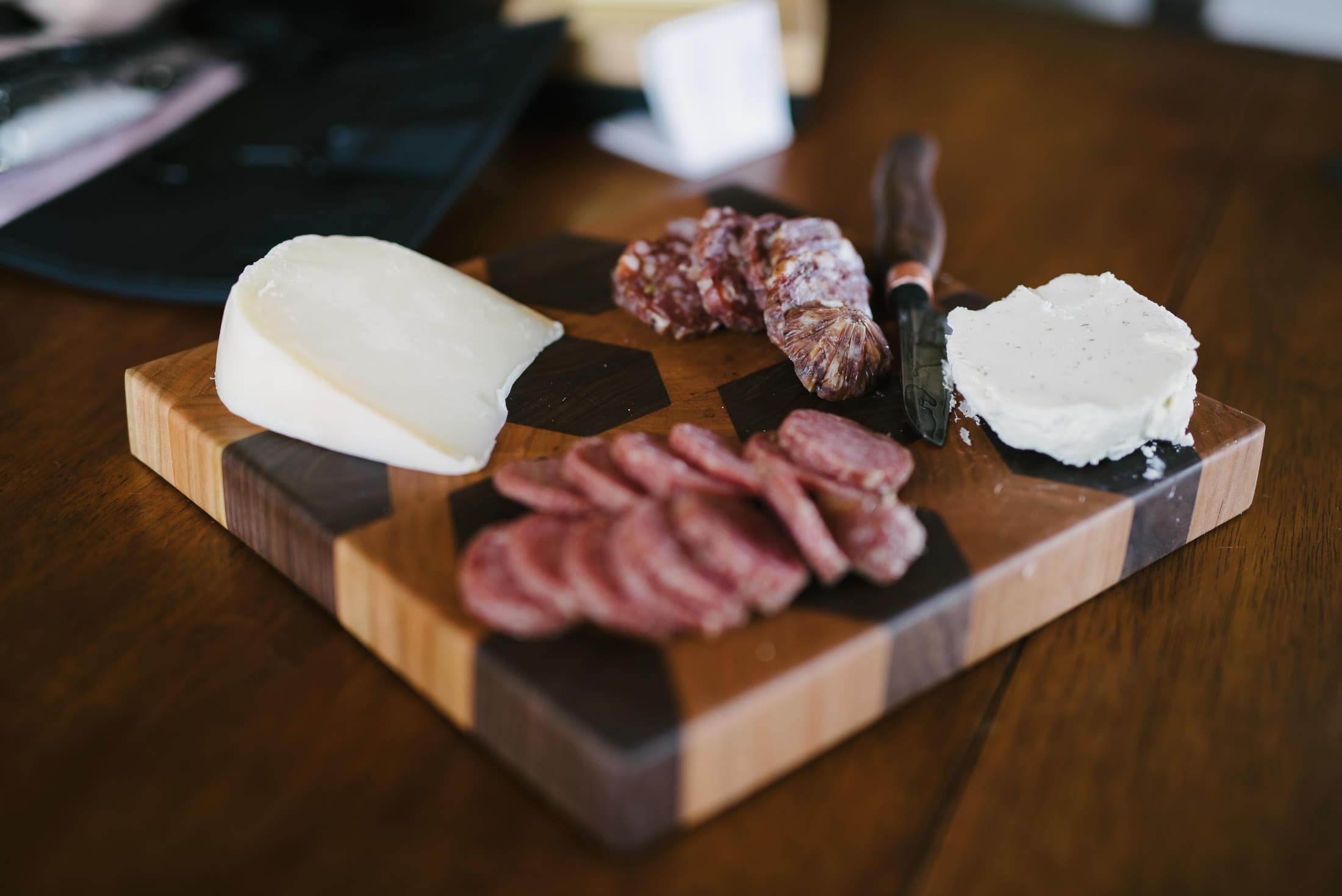 Cheese and Salami on cutting board