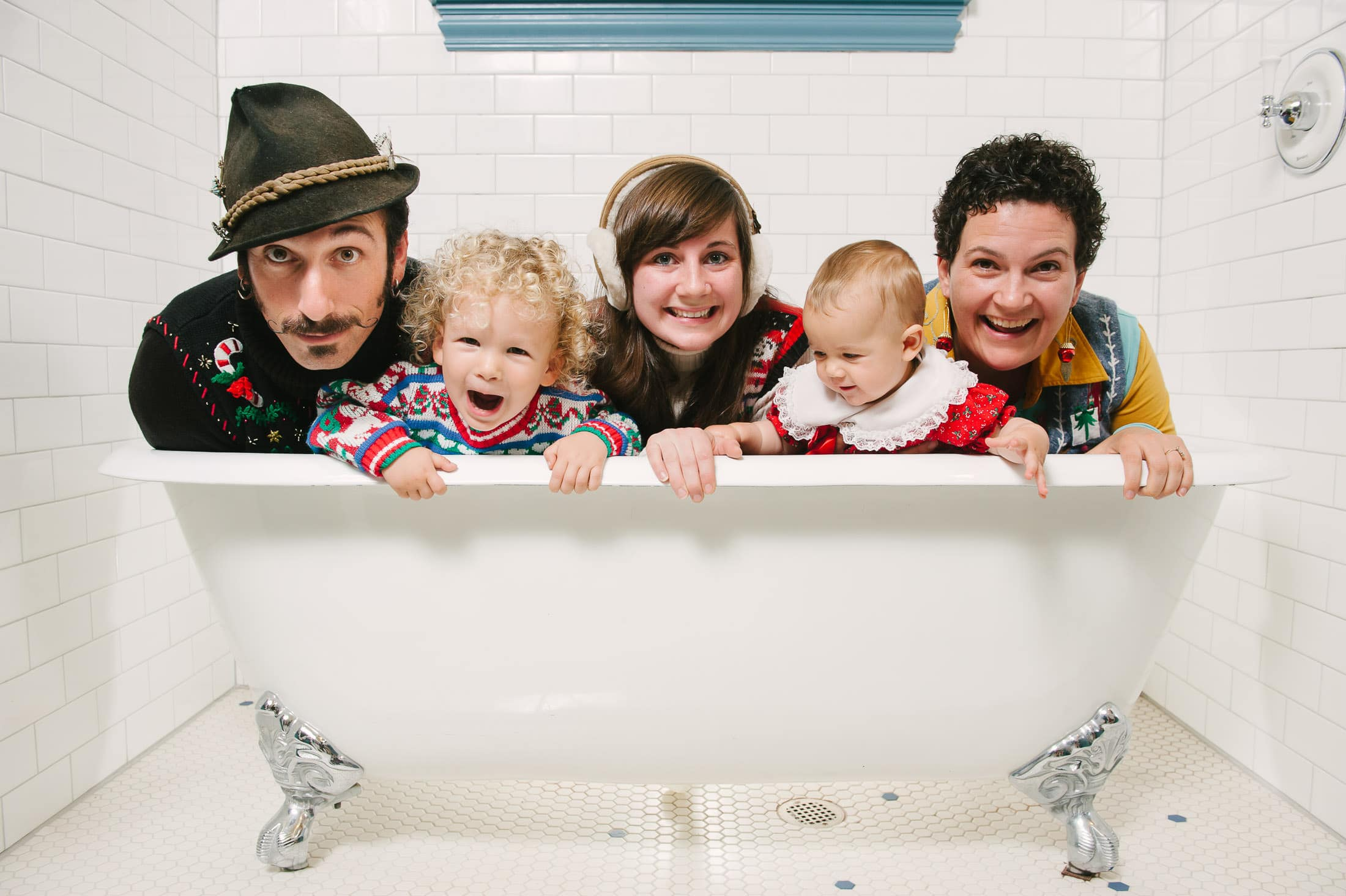 Oakland Photographer and Family in Bathtub for Holiday Card