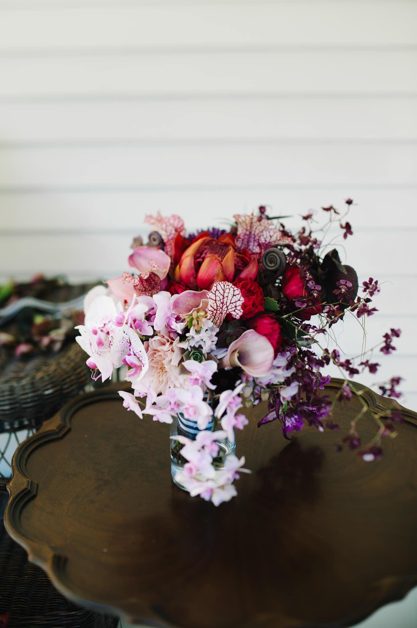 Flora Grubb Bouquet at at Alice in Wonderland Victorian Mad Hatter Garden wedding in Atherton, CA